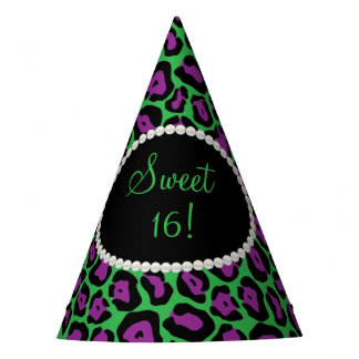 Green/Ppl Leopard Print Pearls Sweet 16 Party Hats