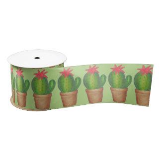 Green Prickly Potted Plant Cactus Cacti Ribbon Satin Ribbon