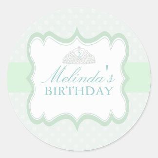Green Princess Tiara Girls Birthday Sticker