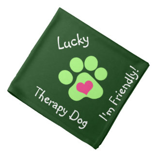 Green Print Therapy Dog Neckerchief Bandana