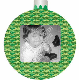 Green Printed Christmas Ball Photo Ornament Frame Photo Sculpture Decoration