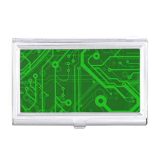 Green Printed Circuit Board Pattern Business Card Case