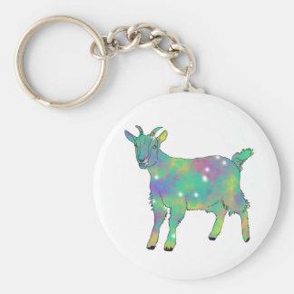 Green Psychedelic Art Goat Funny Animal Design Key Ring