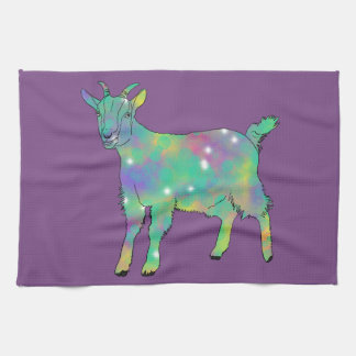 Green Psychedelic Art Goat Funny Animal Design Tea Towel