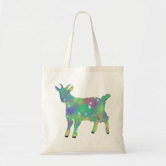 Green Psychedelic Art Goat Funny Animal Design Tote Bag