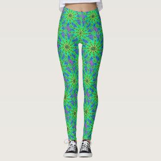 Green Psychedelic Starburst Fractal Pattern Leggings