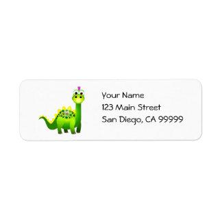 Green Punk Dino Return Address Label
