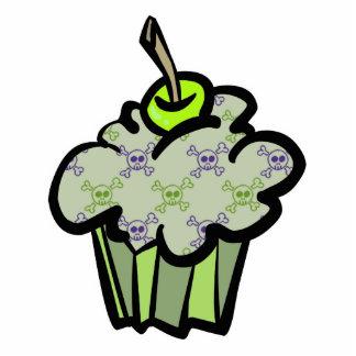 green punk skull crossbones cupcake photo cutouts