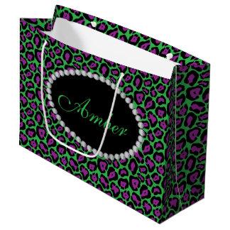 Green & Purp Leopard  Diamond Monogram Lg Gift Bag
