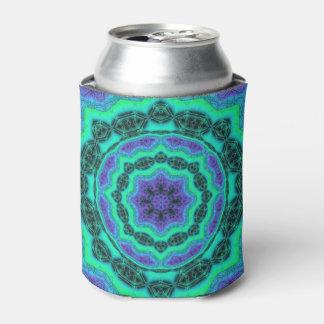 Green, Purple And Blue Mandala Pattern Can Cooler