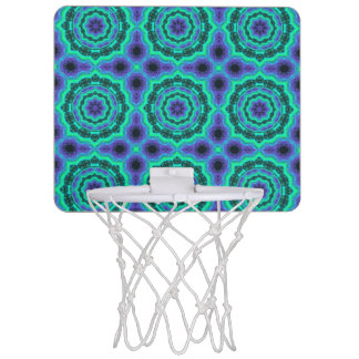 Green, Purple And Blue Mandala Pattern Mini Basketball Hoop