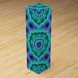 Green, Purple And Blue Mandala Pattern Wine Box