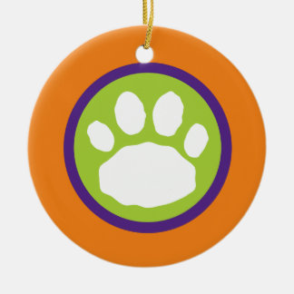 Green, Purple and Orange Paw Print Halloween Ceramic Ornament