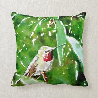 Green ,purple  and yellow hummingbird flowers cushion