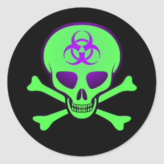 Green-Purple Biohazard Skull Sticker