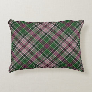 Green purple black tartan decorative cushion