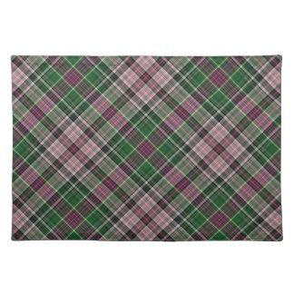 Green purple black tartan placemats