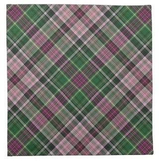 Green purple black tartan printed napkin