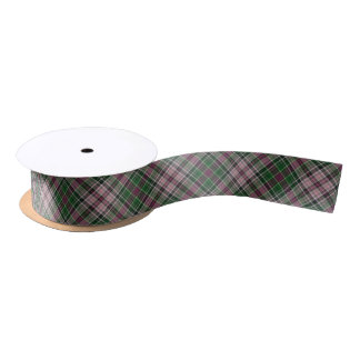 Green purple black tartan satin ribbon