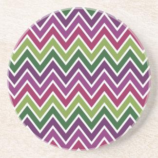 Green & Purple Chevron Stripe Coaster