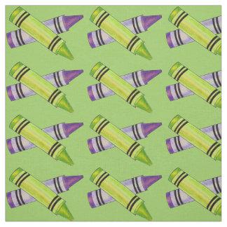 Green Purple Crayons Art Teacher School Supplies Fabric
