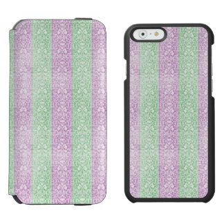 Green Purple Damask Ribbon Candy Lines Kawaii Incipio Watson™ iPhone 6 Wallet Case