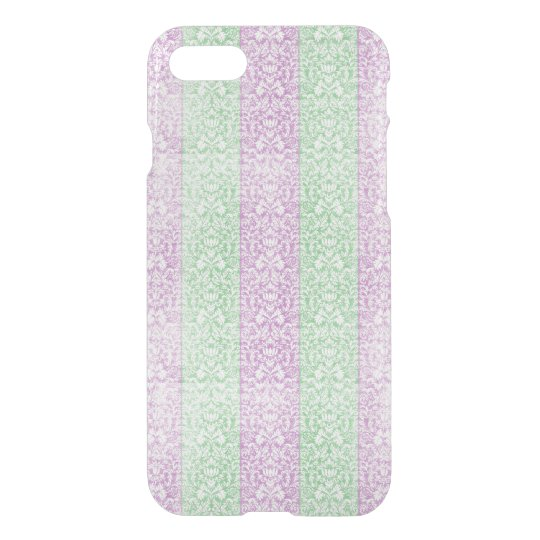 Green Purple Damask Ribbon Candy Lines Kawaii iPhone 7 Case