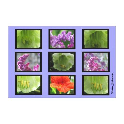 Green Purple Flowers Canvas Prints