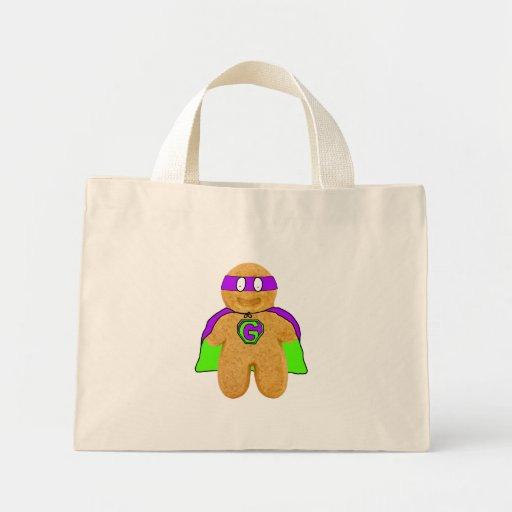 green/purple gingerbread man super hero bag