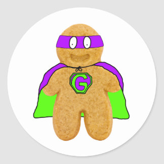 green/purple gingerbread man super hero sticker