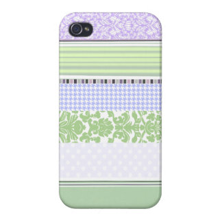 Green & purple girly stripe pattern case for the iPhone 4