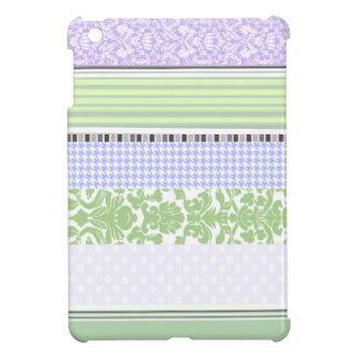 Green & purple girly stripe pattern iPad mini cover