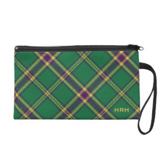 Green/Purple/Gold Tartan Plaid Bag MONOGRAMMED Wristlets