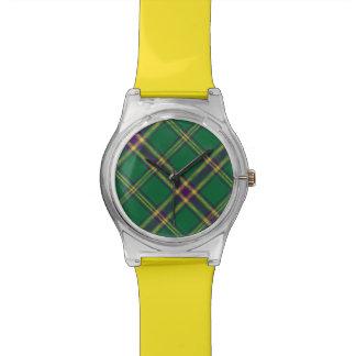 Green/Purple/Gold Tartan Plaid Light Watch