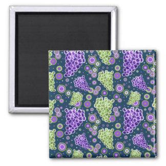 Green Purple Grapes Pattern Square Magnet