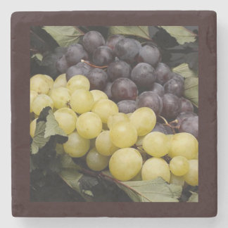Green & Purple Grapes Square Marble Stone Coaster