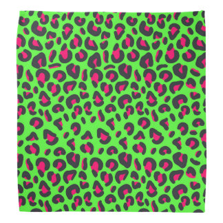 Green Purple Leopard Animal Print Bandannas