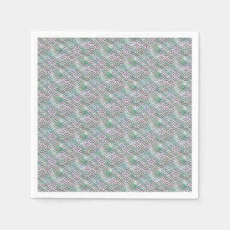 Green Purple Mermaid Pastel Pattern Disposable Serviette