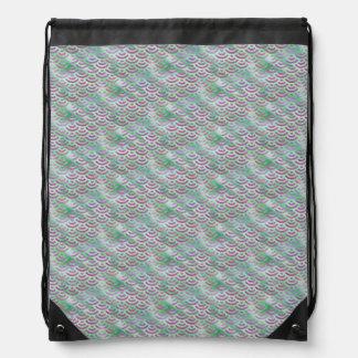Green Purple Mermaid Pastel Pattern Drawstring Bag