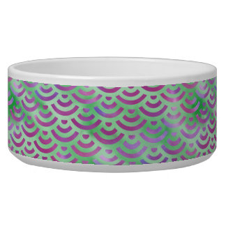Green Purple Mermaid Pastel Pattern Pet Water Bowl