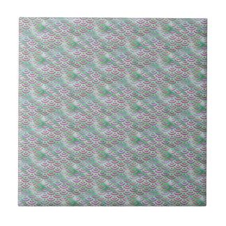 Green Purple Mermaid Pastel Pattern Tile