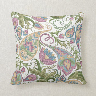Green & Purple Paisley Floral Throw Pillow