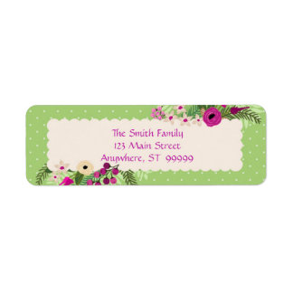 Green/Purple/Pink Floral Return Address Label