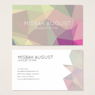 Green Purple Pink Polygon Pattern Business Card