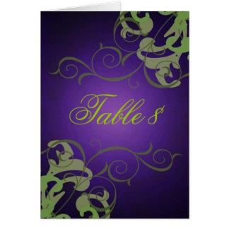 Green & Purple Scroll Table Card