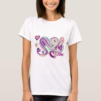 Green Purple Swirly Hearts T-Shirt