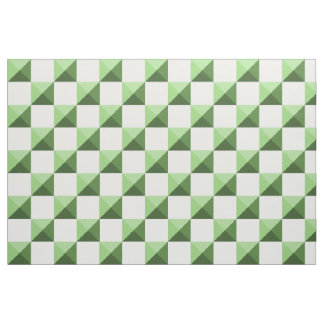 Green Pyramid Illusion Checkerboard Fabric