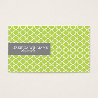 Green Quatrefoil Business Cards