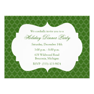 Green Quatrefoil Holiday Party Invitation