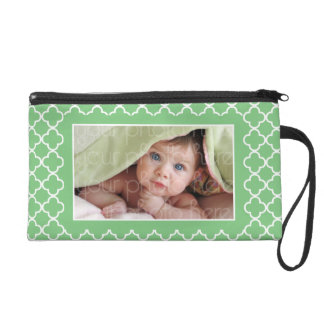 Green Quatrefoil Pattern Photo Frame Wristlet Purse